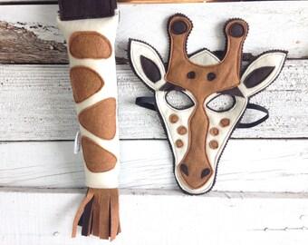 Giraffe Costume - Felt Mask, Tail, & Veest - Wool or Eco Felt