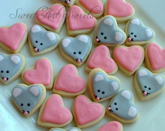 Valentine's Day Mice cookies and Heart cookies - Valentine MINI Cookies - 2, 3, or 4 dozen