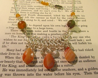 Item 7153 Orange Agate Chainmaille Necklace