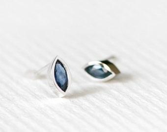 Marquis Sapphire Earrings 925 Sterling Silver Studs Modern Jewelry September Birthstone