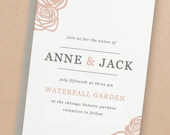 Printable Wedding Invitation Template | INSTANT DOWNLOAD | Roses | Word or Pages Mac & PC | 5x7 | Any Colors
