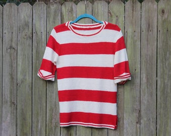 70's Red and White Striped Knit Top | Vintage Crop Sleeve Where's Waldo Sweater - M
