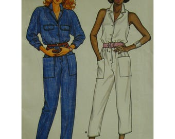 Capri Jumpsuit Pattern, Cut-in Shoulders, Sleeveless, Button Front, Patch Pockets, Butterick No.3304 Size 6 8