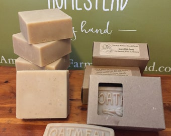 Oatmeal Goat Milk Soap - Handmade Milk Soap, Real Honey and Goat Milk Handcrafted Soap with Oatmeal