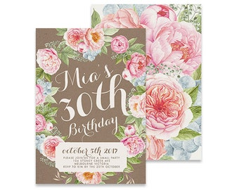 Printable Birthday Invitation | Blossom | Printable DIY Invite, Affordable Invitation, Digital Invite, Girl's Invite, 30th Birthday