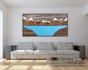 Glacier Mountain Landscape, wood wall art, reclaimed wood art, rustic wall art, Large wall art.