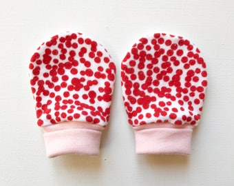 magic baby mitts | dotty red