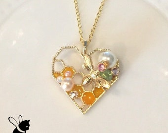Bee my heart necklace, honey bee necklace, honeycomb  becklace, bee necklace