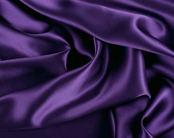 "45"" Wide 100% Silk Charmeuse Purple By the Yard (1000M156)"