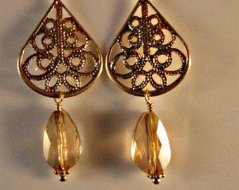 Citrine earrings,drop earrings,dangle earrings,filigree earrings,gemstone earrings,gemstone jewelry,gold earrings,citrine jewelry,citrine