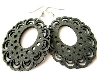 Modern Boho Large Lightweight Lazer Cut Black Oval Lace Wooden Earrings for Women