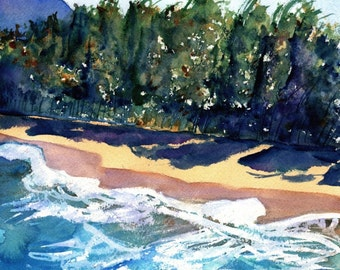 Kauai beach art, Kauai north shore, Original Watercolor Paintings,  Kauai art, Hawaiian paintings, beach art, watercolour beach art, ocean
