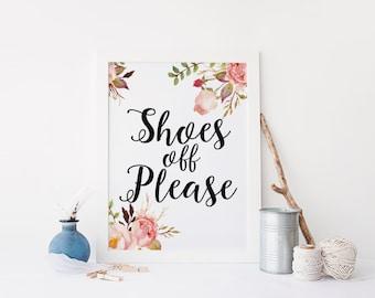"PRINTABLE Art ""Shoes Off Please"" Typography Art Print Typography Poster Shoes Here Please remove your shoes Floral Art Print Home Decor"