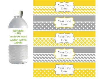 Water Bottle Labels Printable Editable Bottle Labels Yellow Grey Party Favors INSTANT DOWNLOAD DIY Digital Baby Shower Birthday Party 001