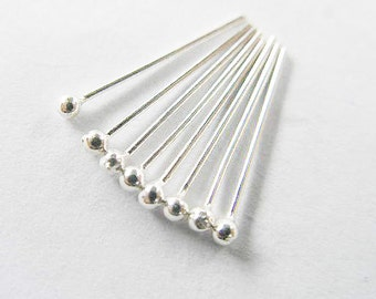 40 of 925 Sterling Silver Head Pins 15x0.5 mm. :th1568