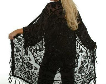 Black Art Deco Noveaux Medallion Beaded Kimono Gypsy Duster