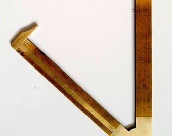 Vintage Lufkin Wooden Ruler with Brass Square