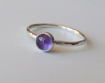 Amethyst Ring Sterling Silver Stacking Ring Bezel Set