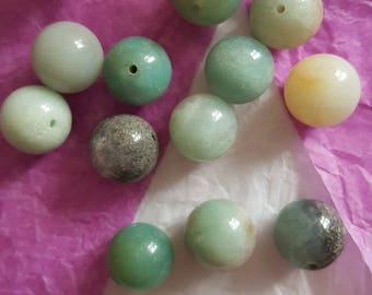 Natural 12 mm, 5 Amazonite beads. (8155918)