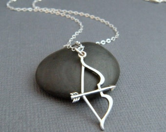 silver bow and arrow necklace. sterling silver necklace. archery pendant. small simple jewelry. modern bow & arrow necklace. archer gift