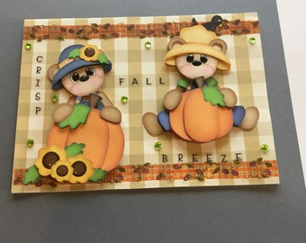 Handmade fall greeting card bears and pumpkins