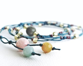 Knotted cord necklace women's beaded necklace women's necklace