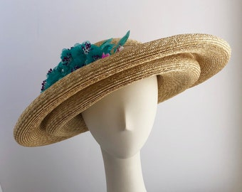 Straw Wide Double Brim Sun Hat with Turquoise and Pink Flowers