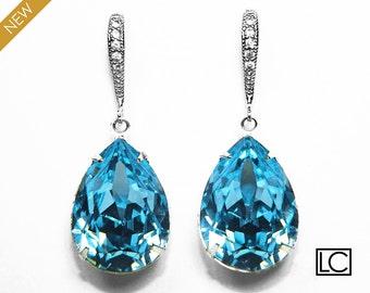 Aqua Blue Crystal Earrings, Swarovski Aquamarine Earrings, Blue Teardrop Silver Earrings, Wedding Bridal Blue Earrings, Birthstone Jewelry