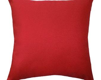 Solid Red Pillow Cover, Hidden Zipper Pillow Cover, Red Throw Pillow, Solid Red Throw Pillow, Red Accent Pillow, Red Cushion Cover, Red Sham