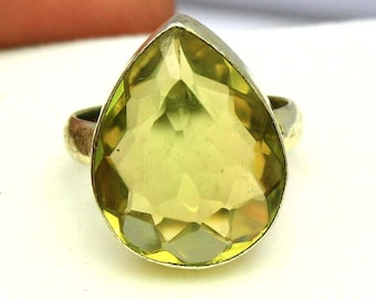 32.50Ct Certified US Size-7 Yellow Citrine Beautiful Ring Gems 925 Sterling Silver AQ172