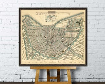 Map of  Amsterdam - Old map print - Amsterdam map print - Giclee  map print - Map reproduction