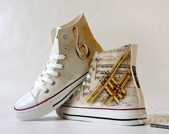 Trumpet, Sheet Music, Custom Made Shoes