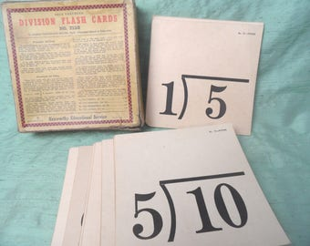 Division flash cards / Kenworthy Meyers flashcards parial box / vintage math lesson
