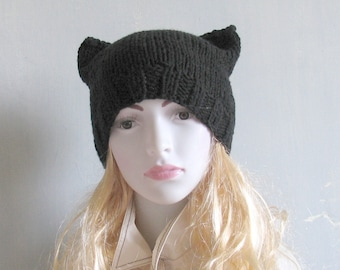 Knit Cat Ear Hat, Cat Ear Beanie, Gray Cat Beanie, Chunky Knit Cat Hat, Winter Accessories, Holiday Fashion, Winter Hat