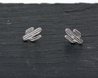 Sterling Silver Cute Little Cactus Stud Earrings,  Fun and Quirky, Anti-tarnish Finish H19