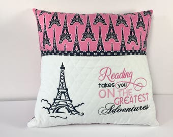 Reading pillow - Eiffel Tower fabric Reading Pillow - Book Pocket Pillow - Reading Gift - Gift for Reader Birthday Gift Idea - Paris gift