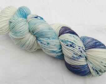 Hand dyed sock yarn merino cashmere nylon Blues
