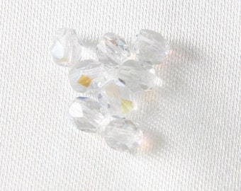 100 pcs - 4mm Czech Glass Faceted Round Fire Polished Crystals Crystal AB
