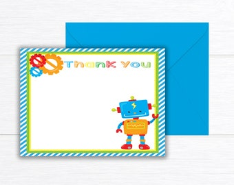 Robot Thank You Cards, Robots Birthday Party Thank you cards, Robot Birthday Party, Thank You cards, Robot thank you cards, Robot Birthday