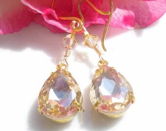 Golden Topaz Earrings Swarovski Crystals Teardrop