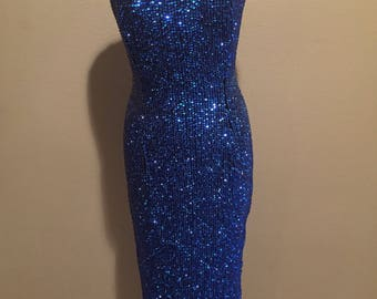 VTG Stenay Blue and Silver Beaded Dress