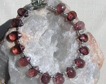 "Gemstone Crystal Bracelet, Amethyst & Sterling Silver ""Chardon"", Amethyst Bracelet, Purple Bracelet, Sagittarius Bracelet, Chakra Bracelet"