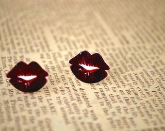 Red Lip Studs -- Lip Earrings, Red Kissy Lip Earrings, Kiss Studs
