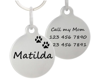 """Double Sided Laser Etched Stainless Steel Pet ID Tag for Dog & Cat Tag Free Engraved and Personalized 1"""" Round Shape"""