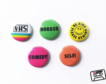 VHS Rental Sticker Pinback Button Set