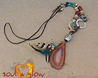Free Spirit Necklace - Carnelian, Sunstone, Amazonite, Agate