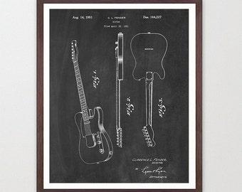 Fender Telecaster - Fender Patent - Fender Art - Guitar Patent - Guitar Wall Art - Telecaster Patent - Electric Guitar - Guitar Patent Art