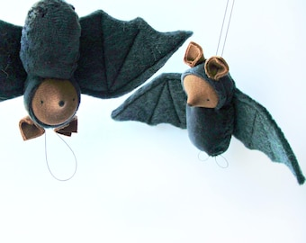 Bat ornament // waldorf nature table // fruit bat // waldorf toy // hanging bat // flying fox