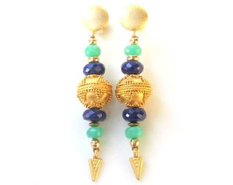 Lapis, Chrysoprase & Gold Vermeil Earrings HANDMADE Natural Gemstone Jewelry