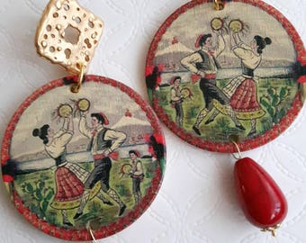 Sicilian earrings with ceramic and brass drops